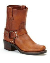 Frye - Brown Harness 8r Leather Strap And Buckle Pull-on Boots - Lyst