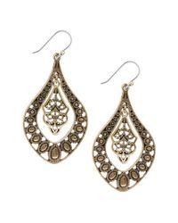 Lucky Brand | Metallic Gold Filigree Oblong Drop Earrings | Lyst