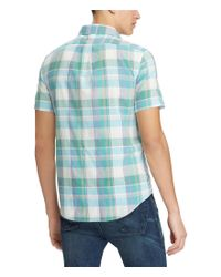 Polo Ralph Lauren - Blue Big & Tall Madras Plaid Short-sleeve Woven Shirt for Men - Lyst