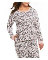 Kensie - White Plus Animal-printed Jersey Knit Sleep Top - Lyst