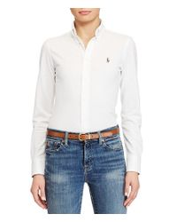 Polo Ralph Lauren - White Classic Signature Pony Knit Oxford Shirt - Lyst