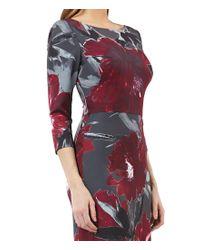 Kay Unger - Purple Floral Print Slit Front Crepe Sheath Gown - Lyst