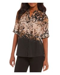 Calvin Klein | Multicolor Ombre Floral Print Roll-sleeve Blouse | Lyst