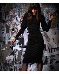 Nicole Miller - Black Puff Sleeve Matte Jersey Sheath Dress - Lyst
