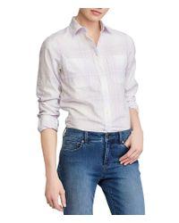 Lauren by Ralph Lauren - Multicolor Plaid Rolled-cuff Cotton Shirt - Lyst