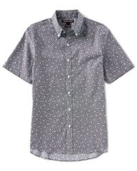 Michael Kors - Blue Slim-fit Acis Print Stretch Short-sleeve Woven Shirt for Men - Lyst