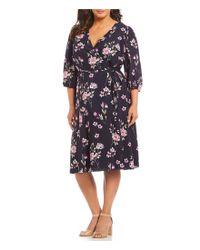 dcb3cbdd8ab0 Lyst - Eliza J Plus Size 3 4 Sleeve Floral Print Faux Wrap Dress in Blue