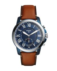 Fossil - Brown Q Grant Leather-strap Blue Dial Hybrid Smartwatch for Men - Lyst