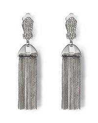 Vince Camuto - Metallic Chain-tasseled Pav Clip-on Statement Earrings - Lyst