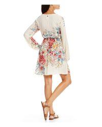 Billabong - White Rain On Floral Printed Tie-waist Sheath Dress - Lyst