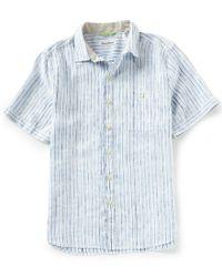 Tommy Bahama - Blue Vertical Stripe Del Soul Short-sleeve Woven Shirt for Men - Lyst