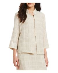 Eileen Fisher - Natural Petite Size High Collar Plaid Stripe Sleeves Jacket - Lyst