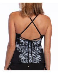 24th & Ocean - Black Moroccan Paisley Merrow Edge High Neck Underwire Tankini Top - Lyst