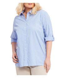 CALVIN KLEIN 205W39NYC - Blue Plus Roll Sleeve Striped Boyfriend Top - Lyst