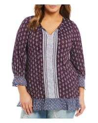 Lucky Brand - Purple Plus Mix Print Peasant Top - Lyst