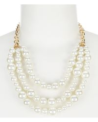 Dillard's - Metallic Tailored Pearl Frontal Necklace - Lyst