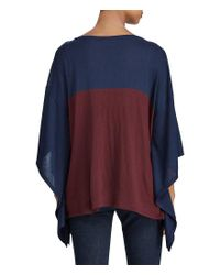 Lauren by Ralph Lauren - Blue Color-blocked Silk-blend Poncho - Lyst