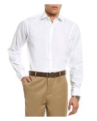 Hart Schaffner Marx   White Diamond Texture Long-sleeve Sportshirt for Men   Lyst