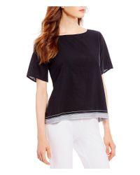 Eileen Fisher - Black Bateau Neck Short Sleeve Boxy Top - Lyst