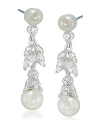 Carolee - White Faux-pearl Floral Drop Earrings - Lyst