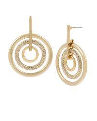 Kenneth Cole - Metallic Crystal Stone Orbital Earrings - Lyst