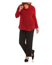 Ruby Rd | Red Plus Cowl-neck Knobby Slub Knit Pullover | Lyst