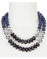 Dillard's - Blue Beaded Frontal Necklace - Lyst