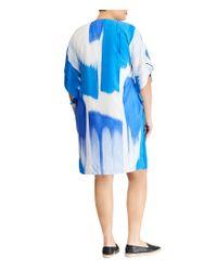 Lauren by Ralph Lauren - Blue Plus Size Crepe Shift Dress - Lyst