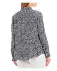 MICHAEL Michael Kors - Blue Plus Size Paisley Fleur Ditsy Print Lock-tag Zip Front Roll-sleeve Shirt - Lyst