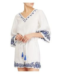 Lauren by Ralph Lauren - White Embroidered Linen-blend Romper - Lyst