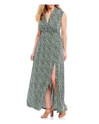 MICHAEL Michael Kors - Green Plus Size Tiny Wildflowers Print Faux-wrap Style Side Slit Maxi Dress - Lyst