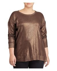Lauren by Ralph Lauren - Brown Plus Metallic Cotton-blend Sweater - Lyst