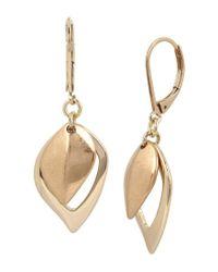 Kenneth Cole - Metallic Leaf Drop Earrings - Lyst