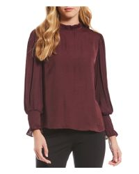 Vince Camuto - Multicolor Ruffled Mock Neck Smocked Poet Sleeve Blouse - Lyst