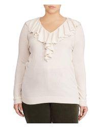 Lauren by Ralph Lauren - Natural Plus Ruffled V-neck Sweater - Lyst