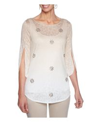 Ruby Rd - White Petite Size Tulip Sleeve Ombre Fade Border Print Embellished Slub Burnout Top - Lyst