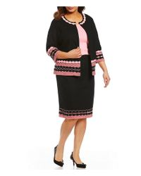 Ming Wang - Black Plus Size Jewel Neck Border Trim Jacket - Lyst