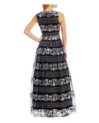 Tahari - Black Metallic Lace Ball Gown - Lyst