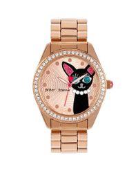 Betsey Johnson - Metallic Cat Crystal Bezel Analog Bracelet Watch - Lyst