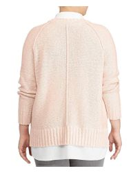 Lauren by Ralph Lauren | Pink Plus Layered Cotton-blend Sweater | Lyst