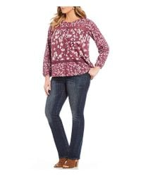 Lucky Brand - Multicolor Plus Long Sleeve Lace Inset Floral Print Top - Lyst