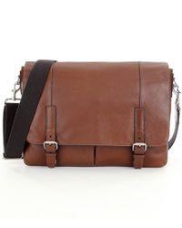 Fossil - Brown Graham Leather Laptop Messenger Bag for Men - Lyst