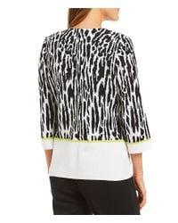 Ming Wang - Black Jewel Neck Animal Print Jacket - Lyst