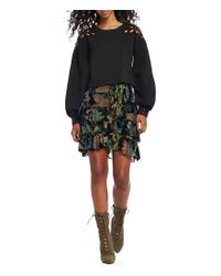 Chelsea & Violet - Black Burnout Velvet Ruffle Skirt - Lyst
