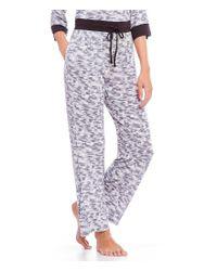 Donna Karan - Gray Printed Jersey Wide Leg Sleep Pants - Lyst