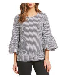 CALVIN KLEIN 205W39NYC - Black Even Stripe Ruffle Bell Sleeve Novelty Shirting Top - Lyst