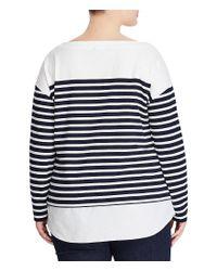Lauren by Ralph Lauren - Blue Plus Signature Patch Striped Layered Cotton Sweater - Lyst