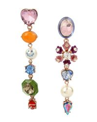 Betsey Johnson - Multicolor Multi-charm Mismatched Linear Drop Earrings - Lyst
