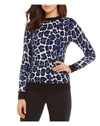 MICHAEL Michael Kors   Blue Leopard Print Fine Gauge Knit Sweater   Lyst