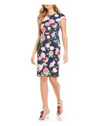 25472d4548689c Lyst - Betsey Johnson Floral Print Scuba Dress in Blue